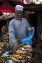 Shopkeeper selling plantain in Bamako Royalty Free Stock Photography