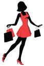 Shopper girl illustration woman with shopping bags Stock Photos