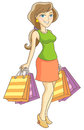 Shopper girl the with purchases vector illustration Royalty Free Stock Photo