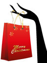 Shopper and hand illustration of christmas with girl Royalty Free Stock Image