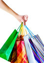Shopper holding shopping bags Stock Images