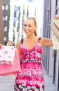 Shopper outdoor picture of attractive woman with shopping bags Stock Photos