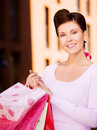 Shopper outdoor picture of happy woman with shopping bags Royalty Free Stock Photography