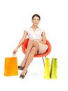 Shopper picture of lovely woman with shopping bags Stock Photos