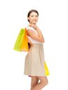 Shopper picture of lovely woman with shopping bags Royalty Free Stock Photos