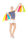 Shopper picture of lovely woman with shopping bags Royalty Free Stock Photography