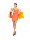 Shopper picture of lovely woman with shopping bags Royalty Free Stock Image