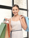 Shopper picture of teenage girl with shopping bags Stock Photography