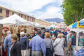 Shoppers browse the stalls at the Salamanca Markets Royalty Free Stock Photo
