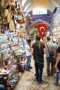 Shoppers explore the maze of the grand bazaa istanbul may bazaar kapali carsi in istanbul turkey Royalty Free Stock Photos