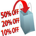 Shopping bag 10 20 50 per cent off SALE Royalty Free Stock Photo