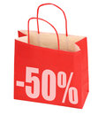 Shopping bag with -50% sign Royalty Free Stock Photo