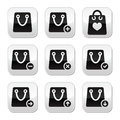 Shopping bag  buttons set Stock Photos