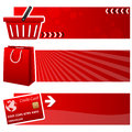 Shopping bag cart horizontal banners a collection of three with a basket a and a credit card on red background eps file Royalty Free Stock Images