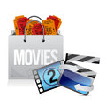 Shopping bag with cinema illustration design over white Stock Image