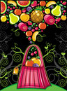 Shopping bag with fruit splash Stock Images