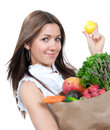 Shopping bag full of groceries Royalty Free Stock Photography