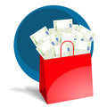 Shopping bag full of money Royalty Free Stock Image