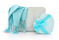 Shopping bag with gift box blue scarf in isolated on a white background Royalty Free Stock Image