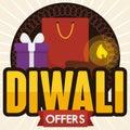 Shopping Bag, Gift Box and Diya for Diwali Offers, Vector Illustration Royalty Free Stock Photo