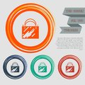 Shopping bag icon on the red, blue, green, orange buttons for your website and design with space text. Royalty Free Stock Photo