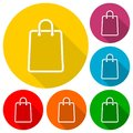 Shopping bag icons set with long shadow Royalty Free Stock Photo