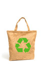 Shopping bag made out of recycled  sack cloth Royalty Free Stock Photo