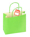 Shopping bag and price tag isolated on white background Stock Photo