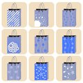 Shopping bag set Royalty Free Stock Images