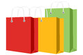Shopping bag and tag multicolored with Stock Photography