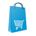 Shopping bag and trolly an image for the concept of retail online in the high street supermarket showing a blue with an image or Stock Images