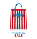 Shopping bag in usa patriotic colors for presidents day sale packet isolated on white background illustration vector Royalty Free Stock Images