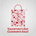 Shopping bag for valentines day made of hearts on white striped background Stock Photography