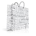 Shopping bag vector illustration of with related text Royalty Free Stock Image