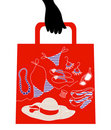 Shopping bag with woman accessories Royalty Free Stock Photo