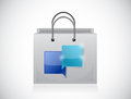 Shopping bags and communication bubbles illustration design over a white background Stock Images