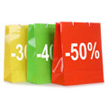 Shopping bags with discounts or special offer during sale colorful Royalty Free Stock Image