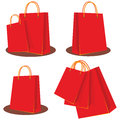 Shopping bags illustrations of red Stock Image
