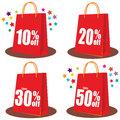 Shopping bags illustrations of red Stock Photos