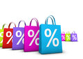 Shopping bags percent discount sale and shops offers concept with a lot of colorful with frontal symbol isolated on white Royalty Free Stock Images