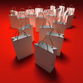 Shopping bags on red background Stock Image