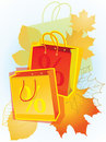 Shopping bags for sales promotion. Royalty Free Stock Photo