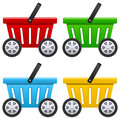Shopping basket with big wheels empty icon car in four different colors isolated on white background e commerce fast delivery Stock Photography