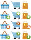 Shopping basket,cart and bag icons Stock Photo