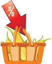 Shopping basket with corncobs Royalty Free Stock Photo