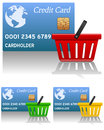 Shopping basket credit card empty in three different colors red green yellow with blue Stock Photography