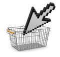 Shopping basket and cursor clipping path included image with Royalty Free Stock Photography