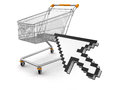 Shopping basket and cursor clipping path included image with Stock Images