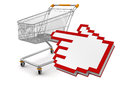 Shopping basket and cursor clipping path included image with Royalty Free Stock Images