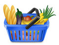 Shopping Basket With Food Royalty Free Stock Photography
